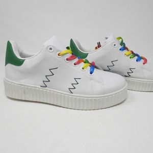 Shoes - White with colored lace sneakers